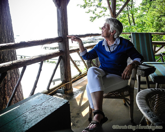 Our old friend Libby Mundy peers off a roof-top porch on the boathouse of the family cottage at Higgins Lake. 6-23, 3:58 p.m.