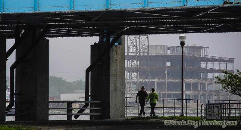 Construction continues through the fog in downtown Bay City.